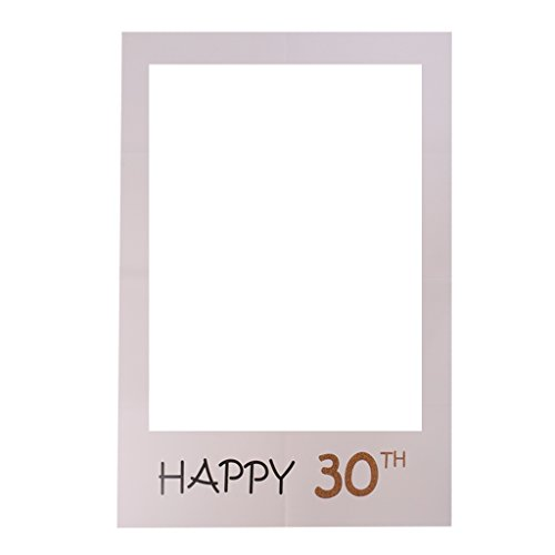 MagiDeal Photo Booth Cornice Per Selfie Photos Frame Foto Props Decorazioni Per Festa Compleanno Matrimonio Laurea Graduazione - happy 30th, 48 x 34 cm