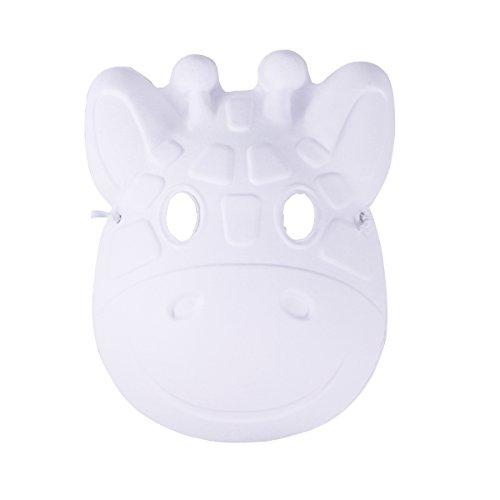 Leere Maske Weiße Kostüm - LUOEM Weihnachten malerei Maske vollgesichts kostüm zellstoff Leere weiße Maske für DIY Farbe 6 stücke (Fawn)
