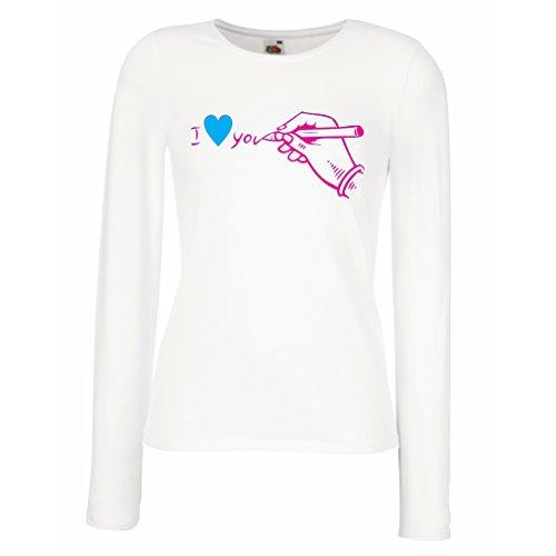 Weibliche langen Ärmeln T-ShirtIch liebe dich St. Valentinstag Geschenke, Outfits (X-Large Weiß - Papel Decoraciones Para De Halloween