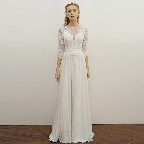 CJJC Vintage Braut Brautkleider Elegant 2/3 Ärmeln Tüll Bodenlangen Einfache Chiffon-Kleider Mit...