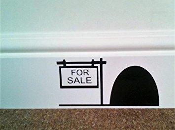 """Preisvergleich Produktbild Wandtattoo: Mauseloch mit Aufschrift """"For Sale"""" (zum Verkauf), für Sockelleiste, Wandaufkleber, Vinylaufkleber, 16x 8cm.Verkäufer aus Großbritannien"""
