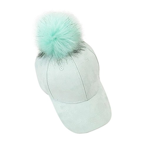 Gaddrt Weihnachten Mode Frauen Faux Pelz Baseball Cap Weiche Winter Wildleder Hip-Hop Hüte (Hellblau) -