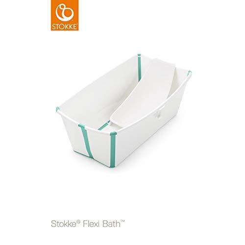 Bañera Plegable Stokke Flexi Bath con Soporte para Recién Nacido blanco/aqua
