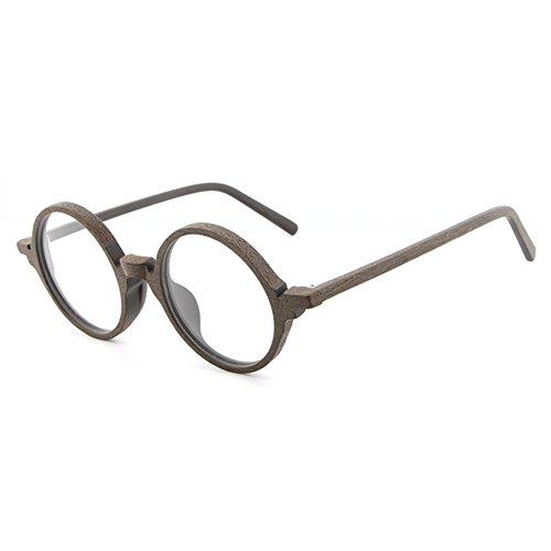Juleya Holzbrillen für Männer Frauen - Mode Brillen Runde Brillengestell 1229YJJ14