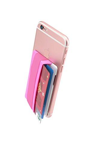 Sinjimoru Smart Wallet mit Handy Fingerhalterung, Slim Wallet/Kartenetui/Kartenhalter/aufklebbare Mini Geldbörse mit Handschlaufe für die Einhandbedienung. Sinji Pouch Band, Pink. Band Mini-handy