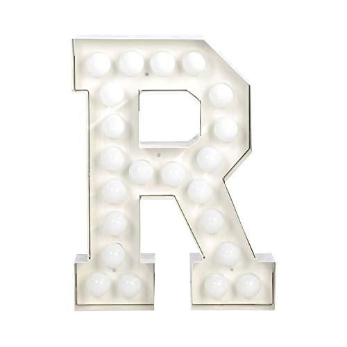 Seletti 01408_R_R99998 Vegaz Lettre R avec ampoules LED Métal Blanc E27 60 cm