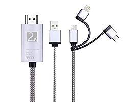 3 in 1 HDMI Adapterkabel, umwerfbar/Typ C/Micro USB auf HDMI Kabel Digital Audio Spiegel Handy Bildschirm auf TV Projektor Monitor für Samsung Galaxy A30 (Silber)