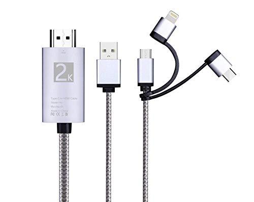 i-Tronixs 3 in 1 HDMI-Adapterkabel, Lighting/Typ-C/Micro USB auf HDMI-Kabel, Digitaler Audio-Spiegel, Handy-Display auf TV-Projektor, Monitor für BQ Tesla 2 W8 (Silber)