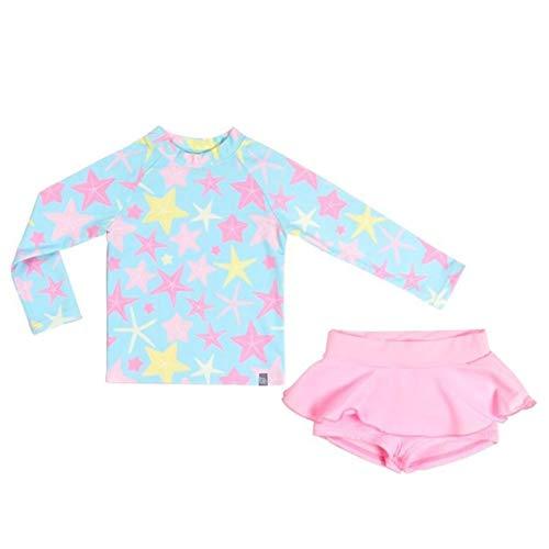 Baby Mädchen Floral Langarm Bademode, Kleinkind UPF 50 + Schnell trocknender Rock Badeanzug Taucheranzug Stern Streifen, Rosa, 3-4 Jahre/ M