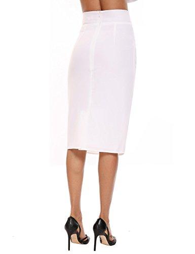 Chigant Damen Casual Knielang Business Rock Stretch Bodycon Bleistiftrock mit Schlitz Elegant Pencilrock mit Reißverschluss Weiß