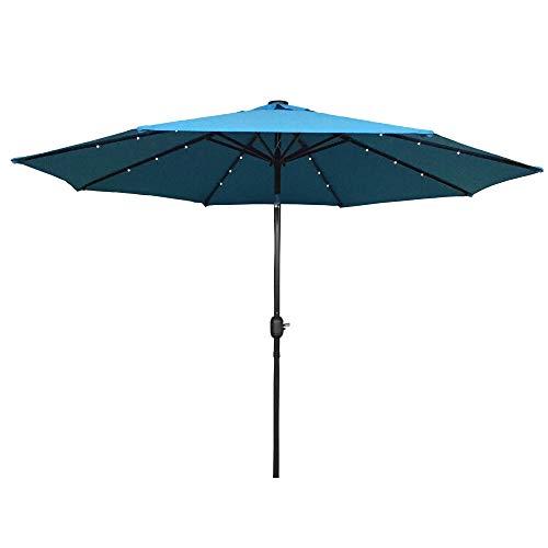 HENGMEI 300cm ALU Sonnenschirm Gartenschirm Terrassenschirm Marktschirm Ampelschirm Strandschirm Kurbelschirm mit UV Schutz 40+, mit Solar LED Warmweiß für Balkon, Garten, Terrasse (300cm, Blau)