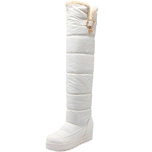 TAOFFEN Damen Winter Keilabsatz Snow Boots Warm Langschaft Stiefel Weiß