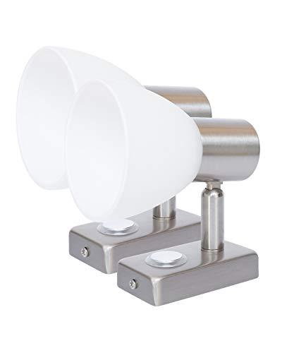 LIGHTEU, 2X 12V 3W D1 Decken- / Wandstrahler, Nickel-Finish, Nachttischlampe, Leselampe mit Touch-Schalter dimmbar warmweiß/blaues Licht für Yacht, Caravan, RV -