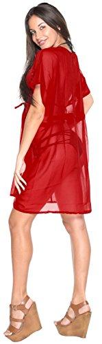 La Leela Damen leichte Chiffon - 70 Solide Farben vorhanden Bademode Abend lässig Kleid Badeanzug Kimono Kaftan Strandkleid Bikini Tunika Badebekleidung Strand Poncho Überwurf Kaftan Cover up Upsdell Red