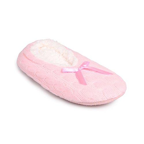 La Modeuse-Pantofole basso per bambini con ripieno e intrecciati in tessile dotato di un simpatico, motivo: papillon, Rosa (rosa), 32/35