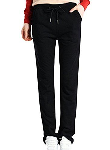 SK Studio - Pantalon de sport - Jambe droite - Uni - Femme Noir