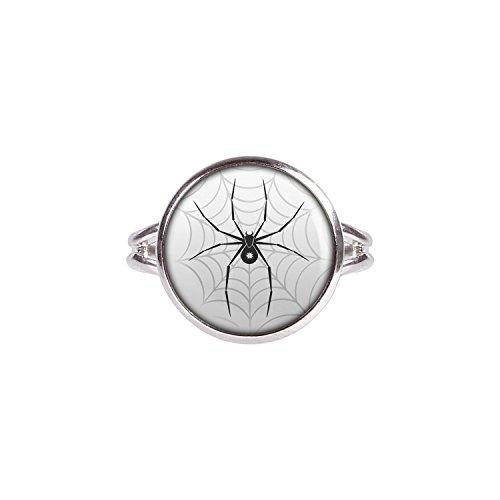 Ohrringe Bitsy Itsy (Mylery Ring mit Motiv Schwarze Spinne Stern Netz silber 14mm)