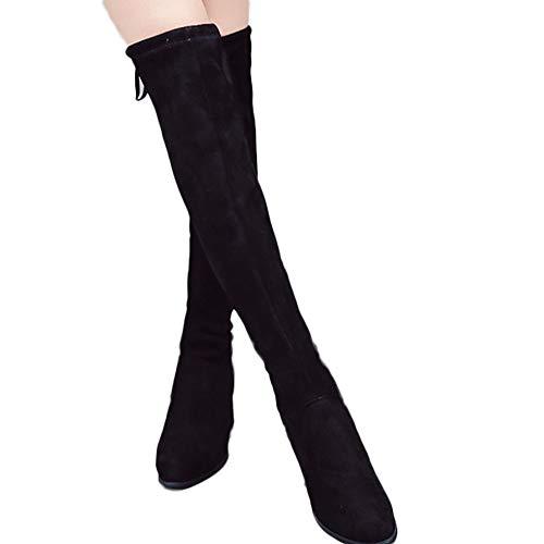 OSYARD Damen Langschaft Stiefel Kniestiefel Schnürer High Tube Boots Stiefeletten, Frauen Klassische Wildleder Shoes High Heel Schuhe Reißverschluss Stiefel Overknee Booties (235/38, Schwarz)