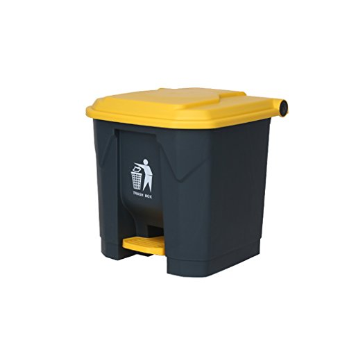 Trash can-Q QFF Outdoor Mülleimer, Hotel Große Haushalt Mülleimer Küche Überdachte Büro Kreative Schritte Kommerziellen Outdoor Mülleimer 30L Praktisch praktisch (Farbe : Gelb) (Mülleimer Küche Groß Schritt)