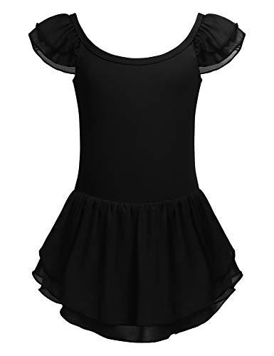 Bricnat Kinder Mädchen Klassisches Ballerina Kleid Kinderkostüm Tutu Ballettkleid Trikot Kleid Kurzarm Rosa Schwarz Lila Gr. 120-160 (Schwarz Tutu Rosa Und)