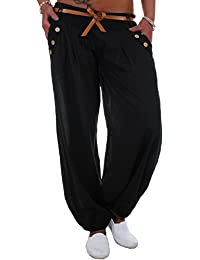 BLACKdenim Pumphose Damen Baggy Sommerhose Strandhose mit Zierknöpfen