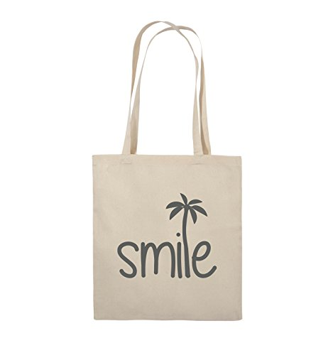 Borse Da Commedia - Smile - Palm - Borsa In Juta - Manico Lungo - 38x42cm - Colore: Nero / Argento Naturale / Grigio
