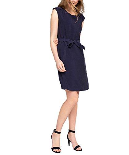 ESPRIT Damen Blusen Kleid fließend, Knielang, Gr. 42, Blau (NAVY 400)