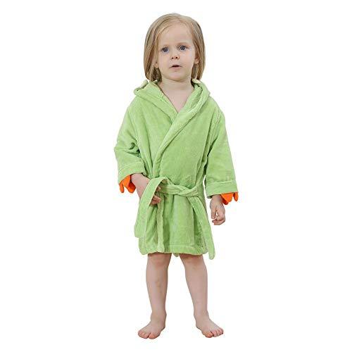 JUNERAIN Bademantel für Kleinkinder, süßer Dinosaurier, mit Kapuze, Baumwolle, warmes Fleece-Badetuch, Kinder, grün, 2-4T 4t Fleece