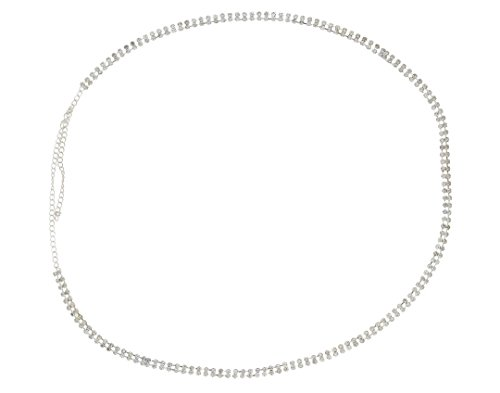 VAMA FASHIONS FANCY RHODIUM PLATED (SILVER) 2 LINE BIG A.D STONES - kamarbandh - WAIST BELT - HIP CHAIN - BELLY CHAIN FOR HER.  available at amazon for Rs.249