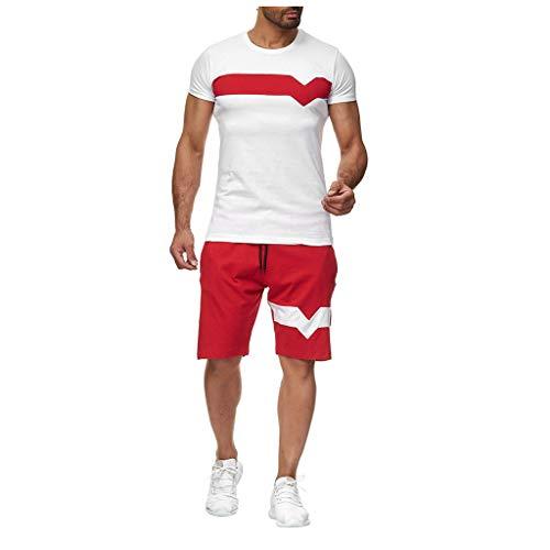 Sportanzug Herren T-Shirt + Shorts Set Sport Hemd Strand Kurzarm Mode Kurze Hose Männer Muskel Shirt Bademode Casual Tops Anzug Jogging Hosen Fitness Bermuda Sweatpants Herrenanzug