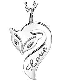Silver Fox Pendant Chain Necklace for women teenage girls,with a Gift Box, Ideal Gift for Birthdays / Christmas / Wedding---Model: X12538