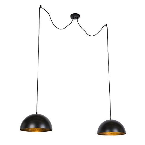QAZQA Modern Moderne runde Esstisch/Esszimmer/Halbrund Pendelleuchte/Pendellampe/Hängelampe/Lampe/Leuchte schwarz mit Gold/Messing und 2-flammig Lichtquellen - Magna/Innenbeleuchtung /