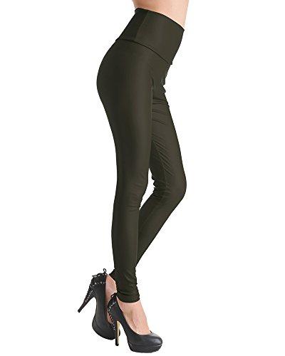 Femmes Brillant Leggings Effet Mouillé Faux Cuir Legging Pleine Longueur Armée verte