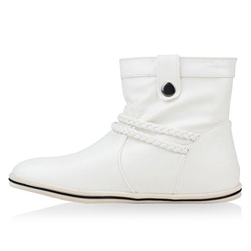 Sportliche Damen Stiefeletten Schnallen Zierknöpfe Flache Boots Weiß