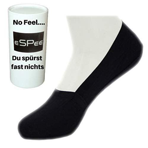eSPee 6 Paar Damen Herren Socken OHNE Gummi feine leichte T-Shirt Baumwolle unsichtbare Sneaker Socken Füsslinge Anti-Rutsch mit 360° Silikon 39 40 41 42 43 44 Schwarz (Footie Socken Slipper)