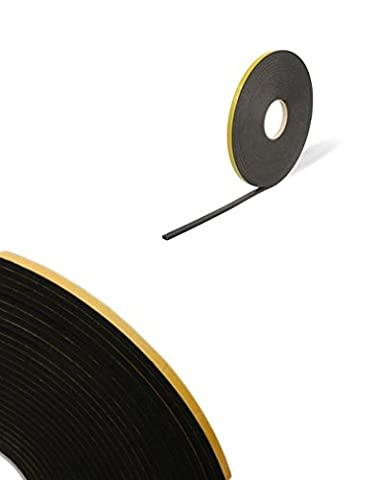 Double Sided Foam Tape - Black - 3mm x 10mm x 20m - Security / Glazing / Craft Tape by Virtual Plastics