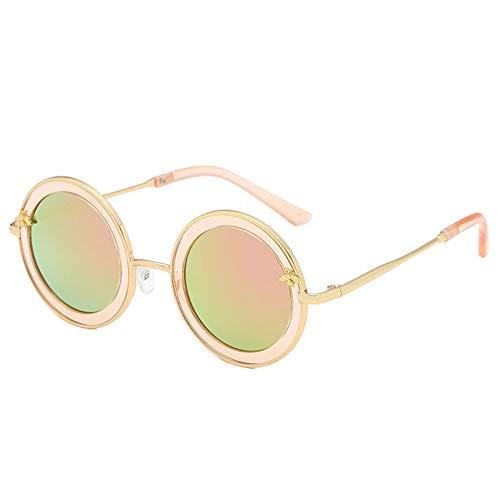 Taiyangcheng Runde Kindersonnenbrille-Metallnette Baby-Sonnenbrille für Jungen-Mädchen,Rosa