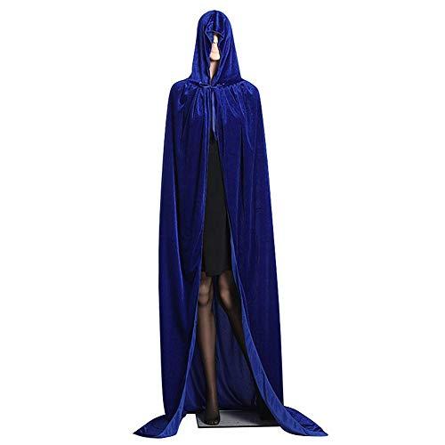 Robe Blaue Kostüm - koiry Mittelalterlich samt Kapuzenumhang Wicca Lang Robe Halloween Hexenzauber Cosplay Kostüm - Blau, Small