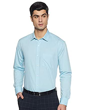 Amazon Brand - Symbol Men's Solid Regular Fit Full Sleeve Fil A Fil Formal Shirt (SY-SS19-FS-015_Aqua_39)