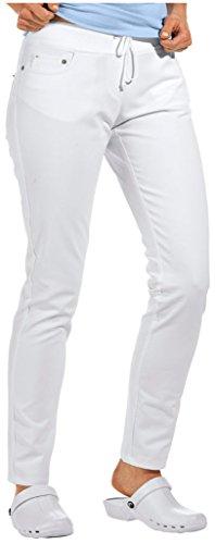 clinicfashion 10613024 Stretch Jeans Hose Damen weiß, elastisches Rippstrickbündchen mit Kordeltunnelzug, Baumwolle, Größe 34