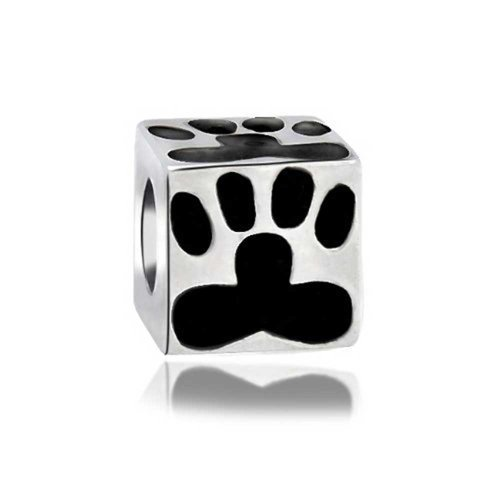 Bling Jewelry Silver Black Dog Paw Print Piazza Bead Incanta Animale Adatto Pandora