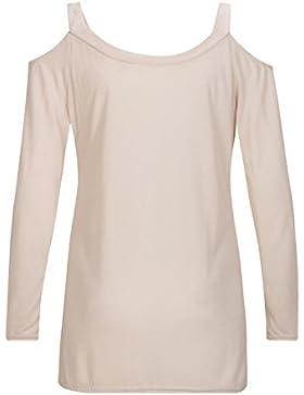 Beauty7 ES 38 Camisetas Mujeres Sin Tirante Suspenders Abierto Hombro Casual Loose Manga Larga Cuello Redondo...