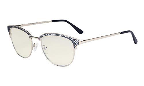 Eyekepper Blaulichtfilter-Computerbrille-Damen-Lesebrille im hohlgeschnitzten Design- UV420 Schutz.Anti Überanstrengung der Augen Müde Augenlinderung Frauen-Blau +1.25