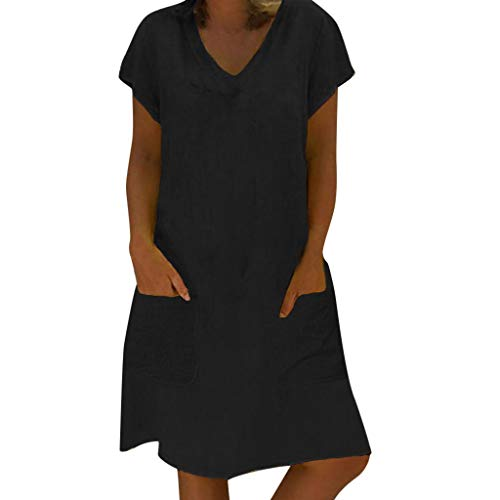 EUCoo Damen Leinen Kleid Sommer tropischen Stil Volltonfarbe V-Ausschnitt Tasche beiläufige lose Hemdkleid - Tan-rollkragen-pullover