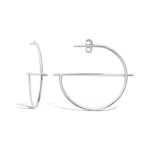 TATA Gisele orecchini mezzo orecchini a cerchio in argento 925/000rodiato 'Oracle-Mezzo Cerchio Liscio 35mm-Bustina regalo in omaggio