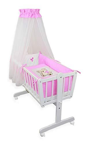 Niuxen 426-425 Babywiege 90/40 Bär mit Schleife 11-tlg. rosa