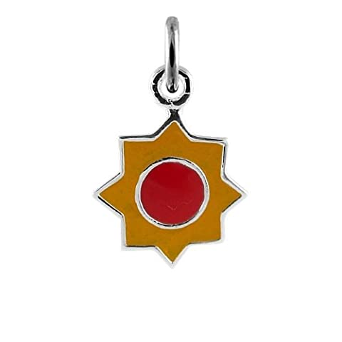 TheCharmWorks Sterlingsilber Gelbe Emaille Sonne Charmanhänger | Sterling Silver Yellow Enamel Sun Charm