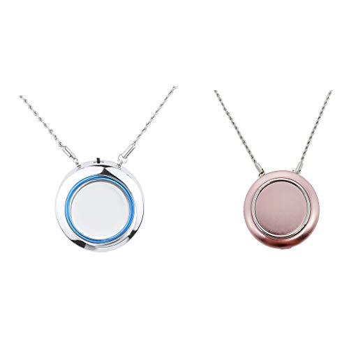 FLAMEER 2x Persönliche Luftreiniger Halskette Tragbare Luftfilter Ionisator Negative Ionen Generator - Silber und Rose Rot