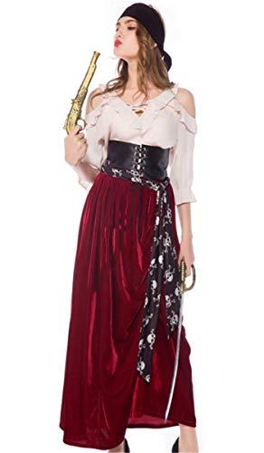 Erwachsene Piraten Kostüm Lady Sexy Für - Emin Erwachsener Piraten Kostüm Damen Sexy Gothic Lange Kleid Piraten Kostüm Kleid mit Gürtel Piraten-Lady Fluch der Karibik Captain Jack Kostüm Halloween Cosplay Karnavel Faschingkostüm Verkleidung