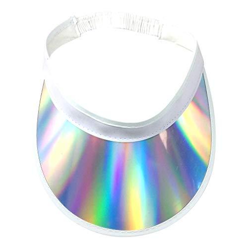 Aawsome Damen Mädchen Sommer Metallic Hologramm Kunststoff bunt breiter Rand gebogen Sonnenschirm Hut elastisch Hip Hop 1